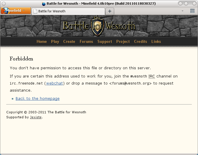 forums.wesnoth.org block screenshot
